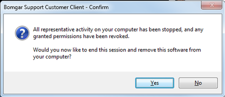 Click 'Yes' to end session and remove software